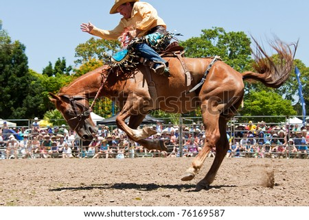 GOLD COAST, AUSTRALIA - JANUARY 26: Unidentified cowboy rides wild horse on January 26,2011 in Gold Coast, Queensland, Australia. The rodeo show was part of Australia Day celebration. - stock photo
