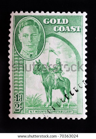 GOLD COAST - CIRCA 1948 - Definitive issue commonwealth postage stamp with portrait of King George 6th circa 1948