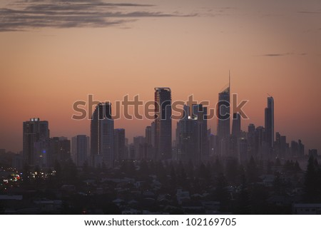 Gold Coast high rises at red sunset, Queensland, Australia.