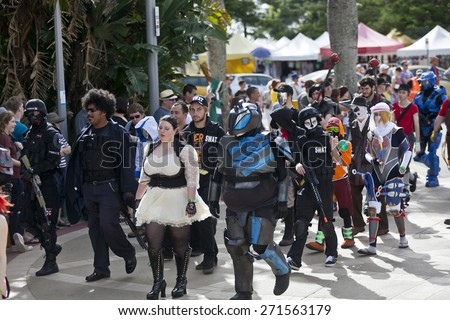 GOLD COAST, QUEENSLAND, AUSTRALIA-19th APRIL 2015:-Supernova parade.February 2015 in Australia. Supernova, patrons dress in their favourite character costumes, then parade through Broadbeach