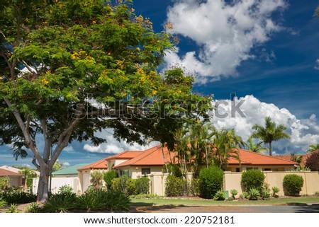 Gold Coast residential street, Queensland, Australia - stock photo