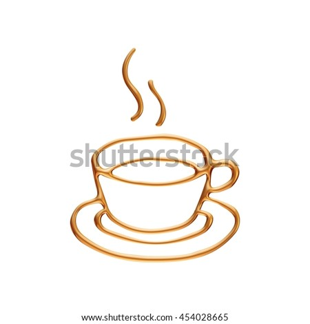 Gold coffee cup rendered in 3d on white background.