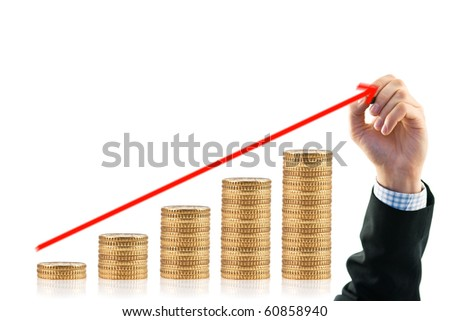 gold coin and businessman hand isolated - stock photo