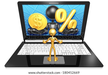 Gold Coin And Percentage Symbol On Laptop - stock photo