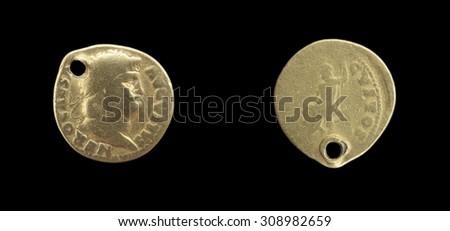 Gold coin Aureus of the Roman Empire. Ner? Claudius Caesar Augustus Germanicus . Roman Emperor from 54 to 68 - stock photo