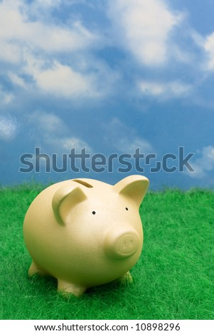 Gold coin bank sitting on grass with copy space