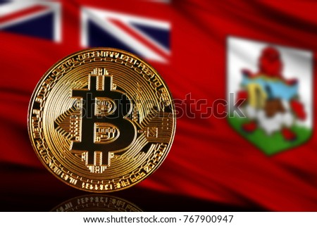gold coin bitcoin on a background of a flag Bermuda Islands
