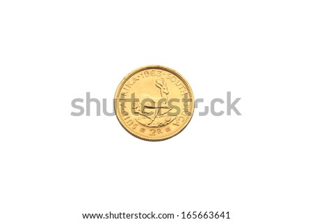 Gold coin from South Africa - stock photo