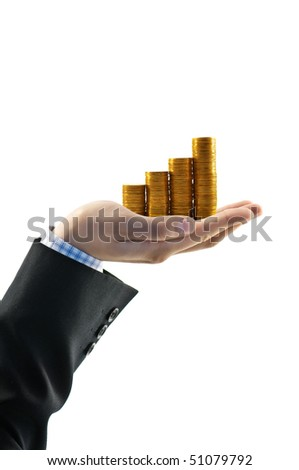 gold coin in businessman hand isolated