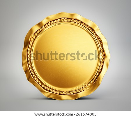 gold coin isolated on a grey background - stock photo