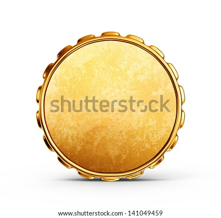 gold coin isolated on a white background - stock photo