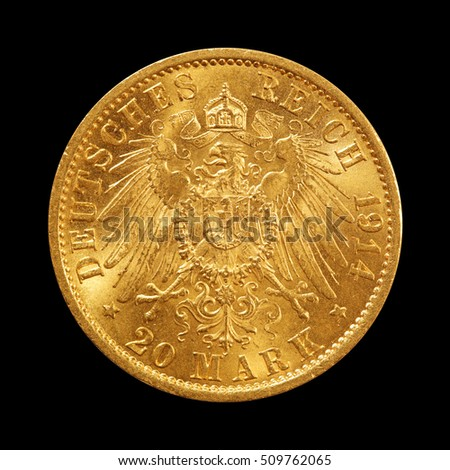 gold coin isolated on black, 20 mark, germany