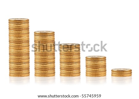 gold coin isolated on white - stock photo