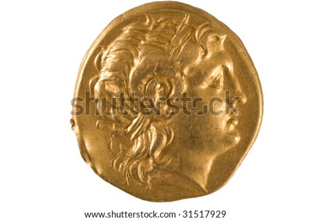 Gold coin of ancient Greece. - stock photo