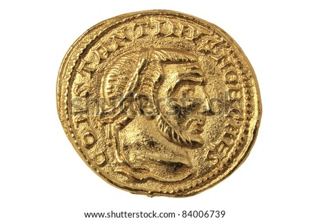 Gold coin of Roman Emperor Constantine I, 306-337 AD. - stock photo