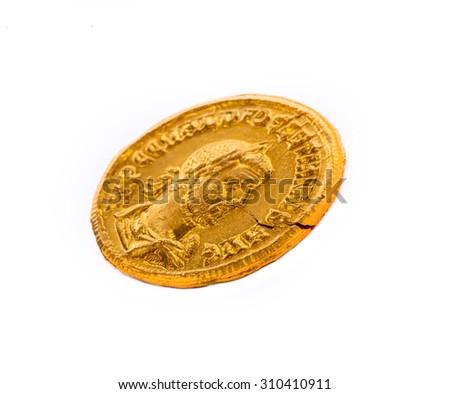 Gold coin of the Roman emperor Diokletianf, 284-305 AD. - stock photo