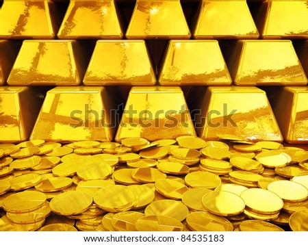 Gold coin pile and ingots , 3d illustration - stock photo