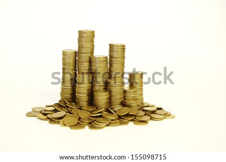 gold coin stack - stock photo