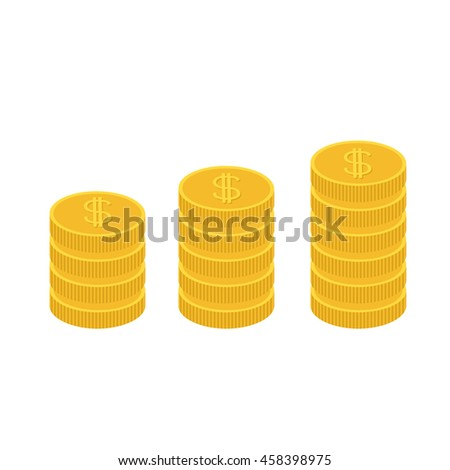 Gold coin stacks icon in shape of diagram. Dollar sign symbol. Cash money. Going up graph. Income and profits. Growing business concept. Flat design. White background. Isolated - stock photo