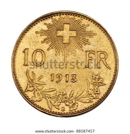 gold coin - Swiss ten francs 1913 - stock photo