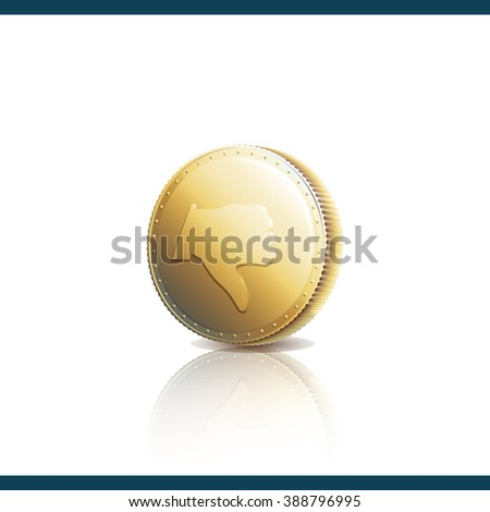 Gold coin with Dislike symbol. Thumb down on gold coin - raster image