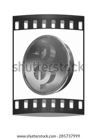 Gold coin with dollar sign. The film strip - stock photo