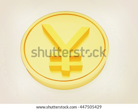 Gold coin with yen sign on a white background. 3D illustration. Vintage style.