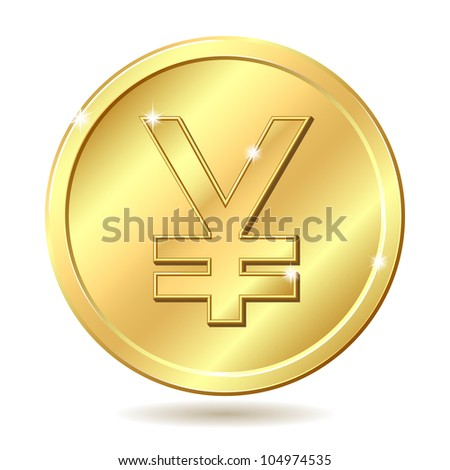 Gold coin with yen sign. Raster illustration isolated on white background - stock photo
