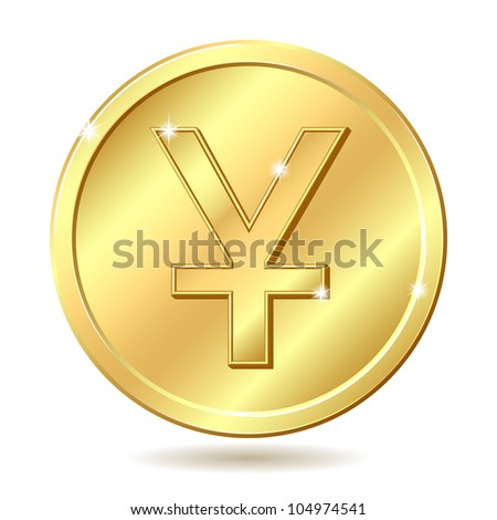 Gold coin with yuan sign. Raster illustration isolated on white background - stock photo