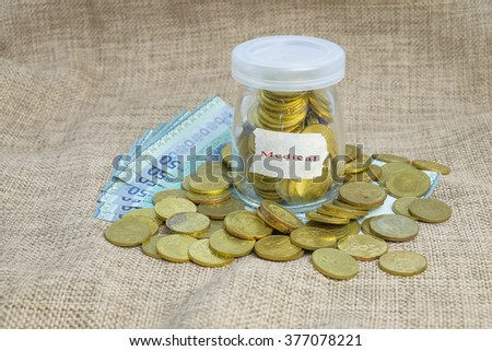 Gold coins in bottle  with word medical,Saving concepts - stock photo