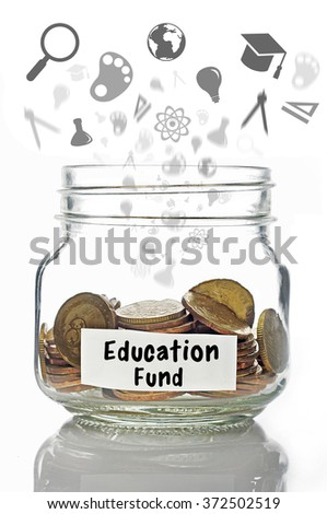 Gold coins in jar with Education label with digital icons isolated in white background