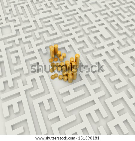 Gold coins in the abstract labyrinth - stock photo