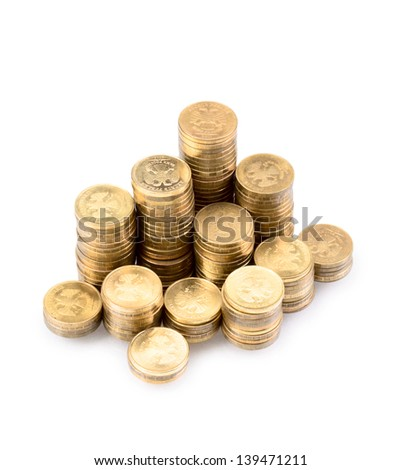 gold coins isolated on a white background - stock photo