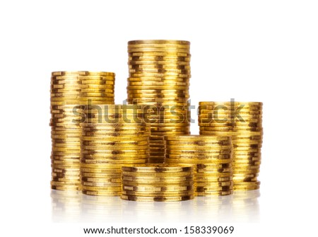 Gold coins, isolated on white  - stock photo
