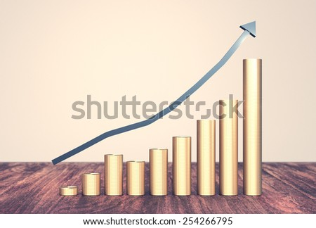 Gold coins money stack rising with arrow pointing up on vintage styled background - stock photo