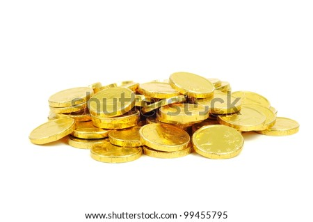 Gold coins of one euro, isolated on white - stock photo