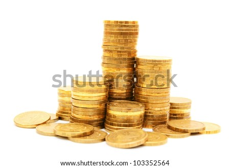 Gold coins. On a white background.