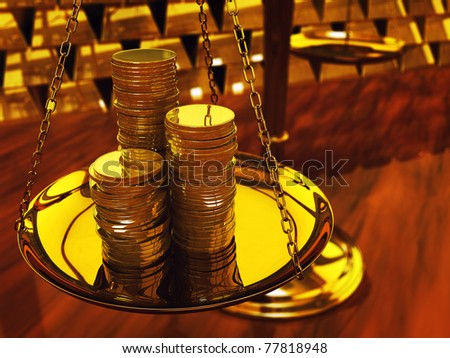 Gold coins on brass scale and gold ingots ,3d illustration - stock photo