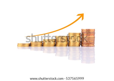 Gold coins on white background with arrow. Business Growth Concept