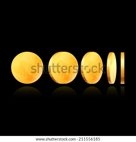 Gold coins. Raster copy. - stock photo