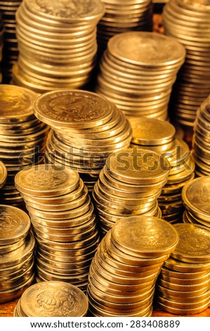 Gold Coins Stack - stock photo