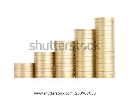 Gold coins stand vertically in columns ascending, isolated on white. Concept of revenue growth - stock photo