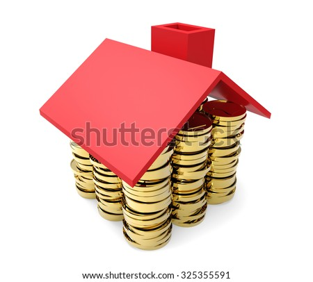 Gold coins under red house roof concept isolated on white background. - stock photo