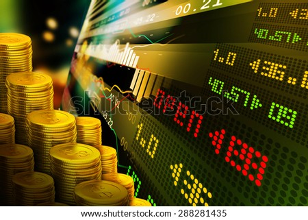 Gold coins with financial stock chart  - stock photo