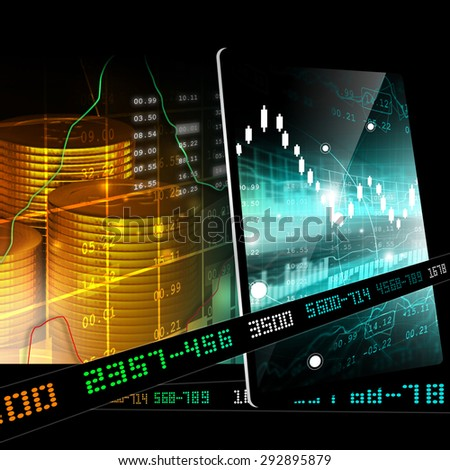 Gold coins with financial stock market data  - stock photo