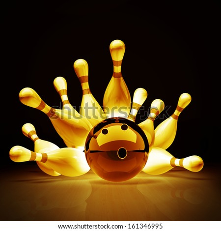 Gold collection. Bowling Ball crashing into the pins on vintage background. High resolution 3d  - stock photo