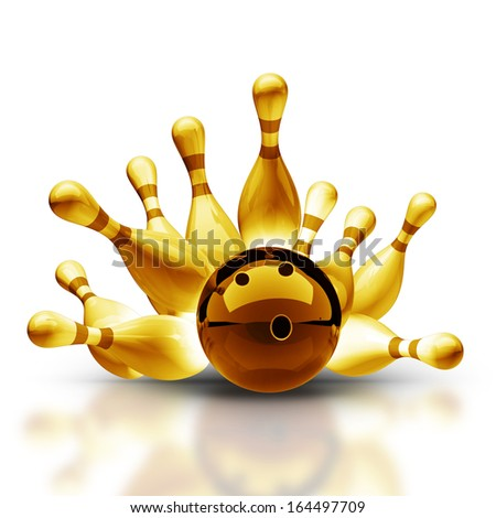 Gold collection. Bowling Ball crashing into the pins on vintage isolated on white background High resolution 3d  - stock photo