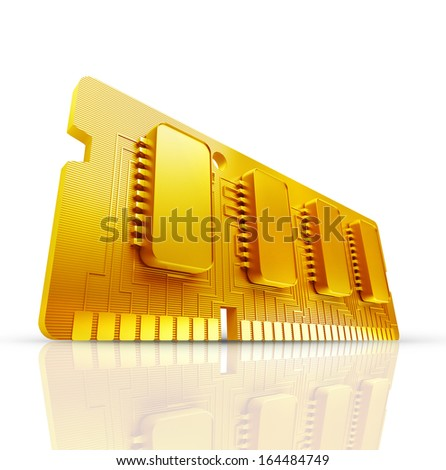 Gold collection. Computer RAM Memory Card 64gb isolated on white background High resolution 3d  - stock photo