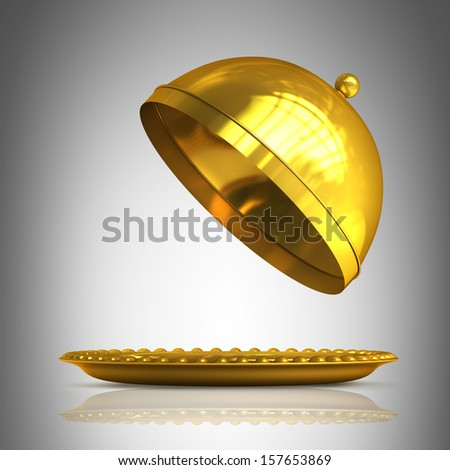 Gold collection. open empty platter or cloche with space to place object High resolution 3D  - stock photo