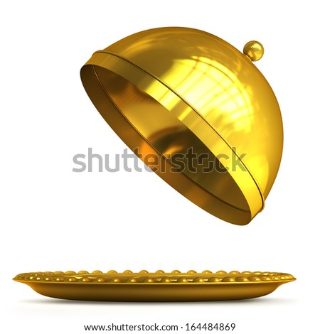 Gold collection. open empty platter or cloche with space to place object isolated on white background High resolution 3d  - stock photo